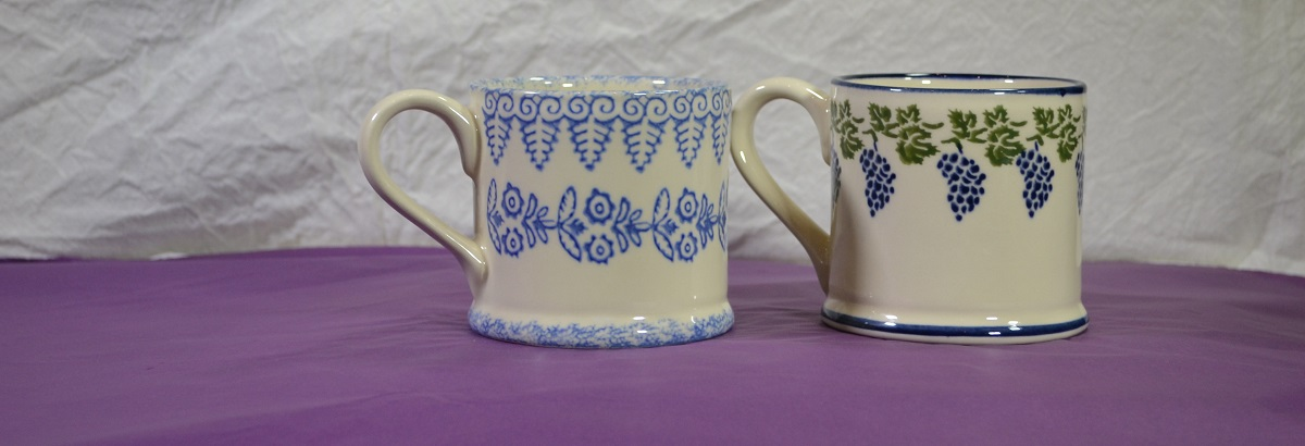 Brixton Pottery Grapes & lacey Mugs