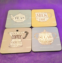 Coffee, Tea, Milk, Sugar Coasters