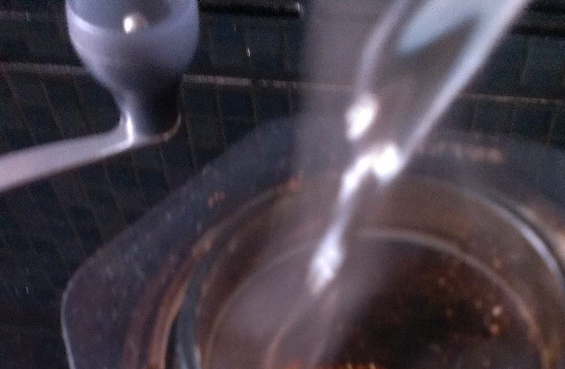 Water pour onto coffee