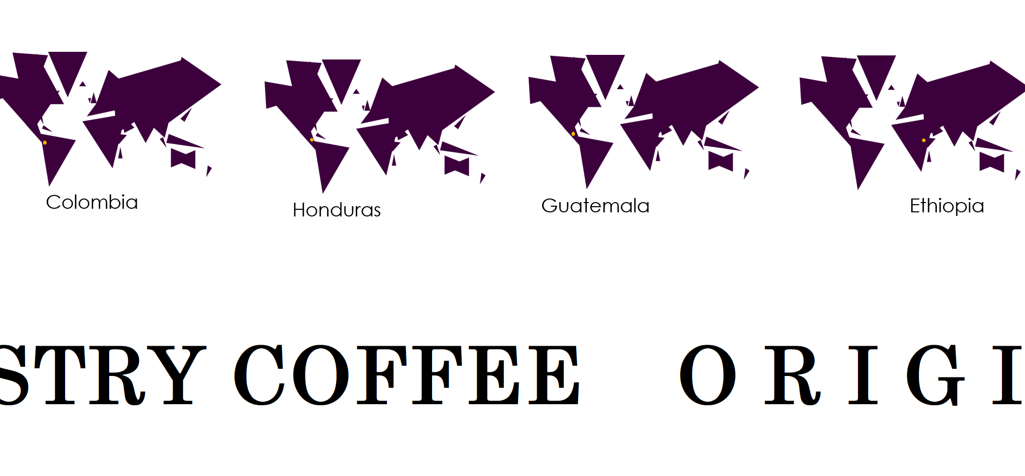 Originating Countries for current Artistry Coffee Beans