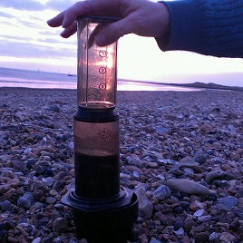 At the beach with AeroPress